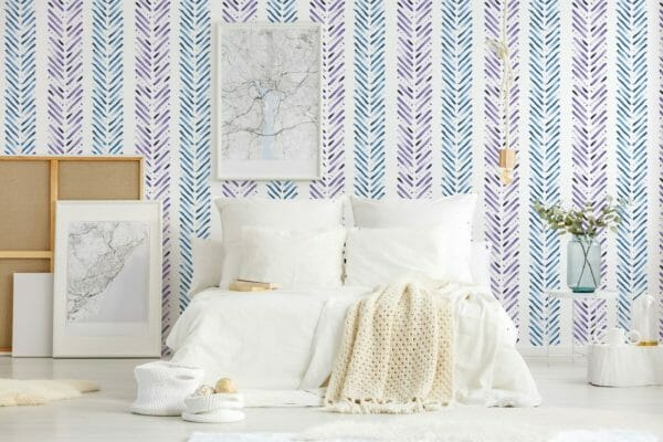 Blue and purple Herringbone removable wallpaper
