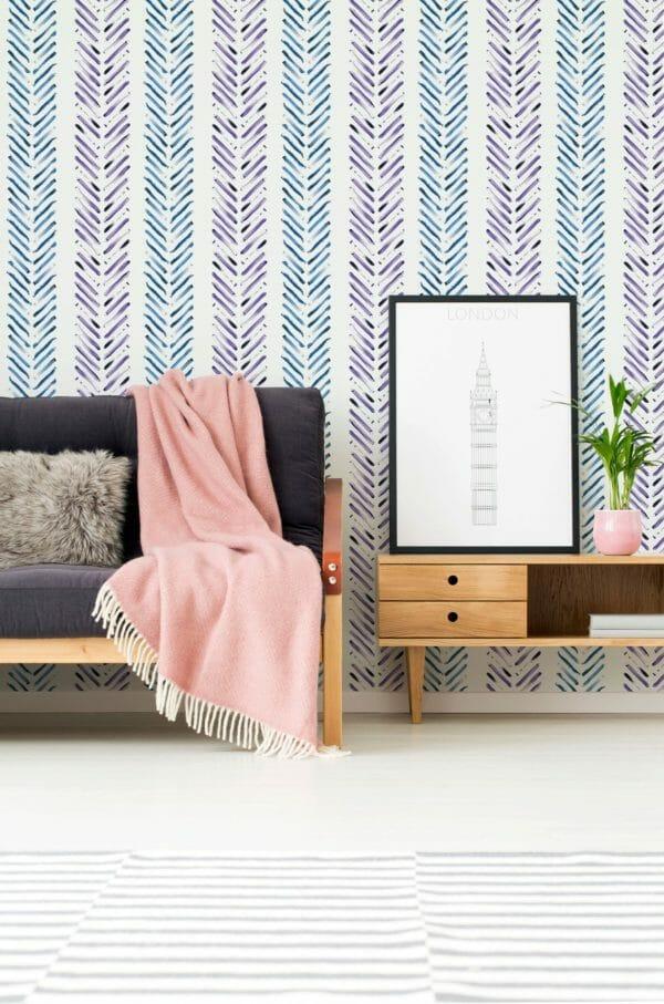 Blue and purple Herringbone self-adhesive wallpaper