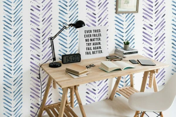 Blue and purple Herringbone unpasted traditional wallpaper