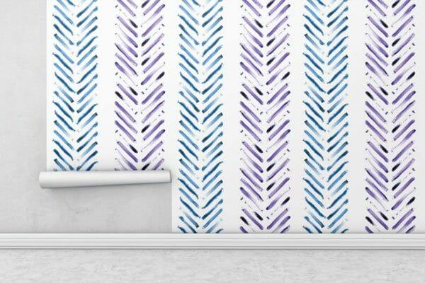 Blue and purple Herringbone wallpaper rolls