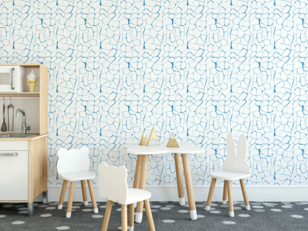 blue and white abstract peel and stick wallpaper