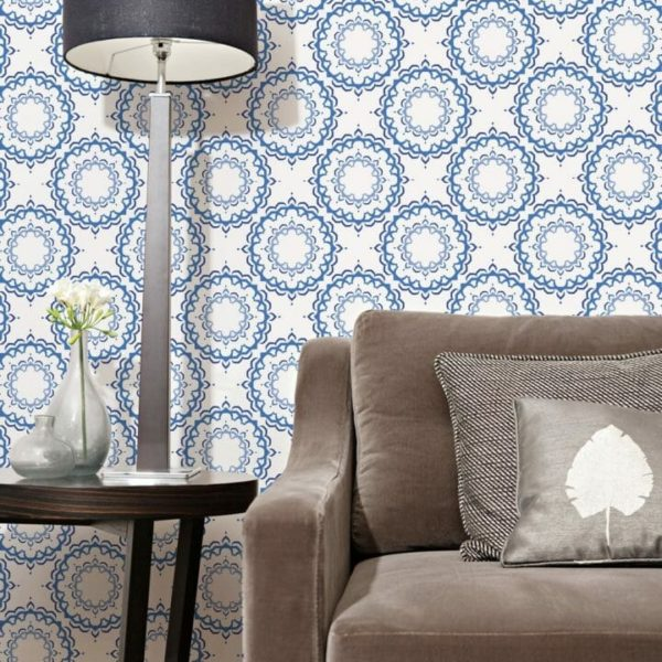 Blue and white Moroccan removable wallpaper