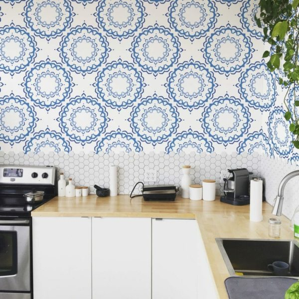 Blue and white Moroccan self-adhesive wallpaper