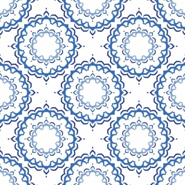 Blue and white Moroccan unpasted traditional wallpaper