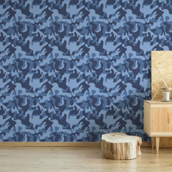 Blue camouflage pattern peel and stick wallpaper
