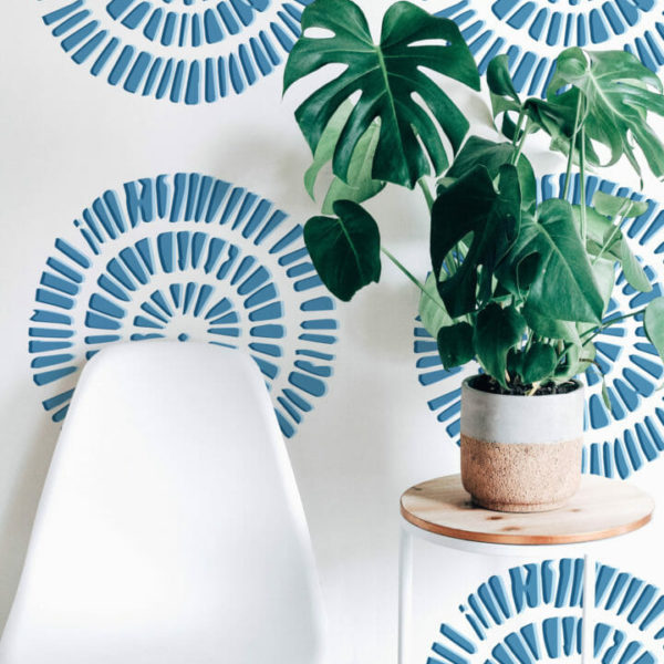 blue circle self-adhesive wallpaper