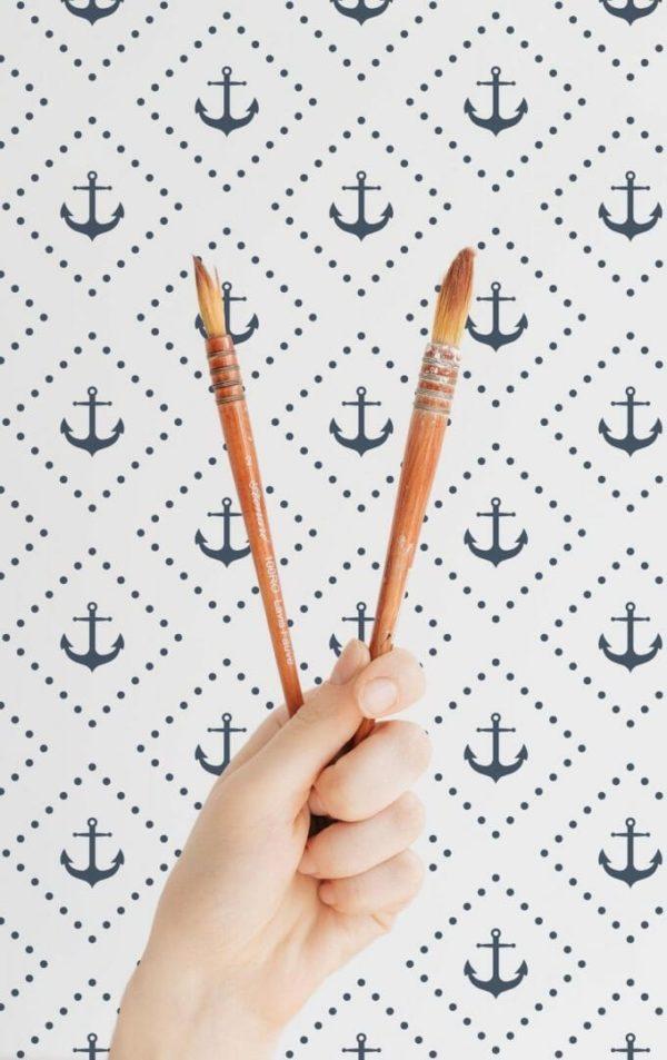 Blue navy anchor self-adhesive wallpaper