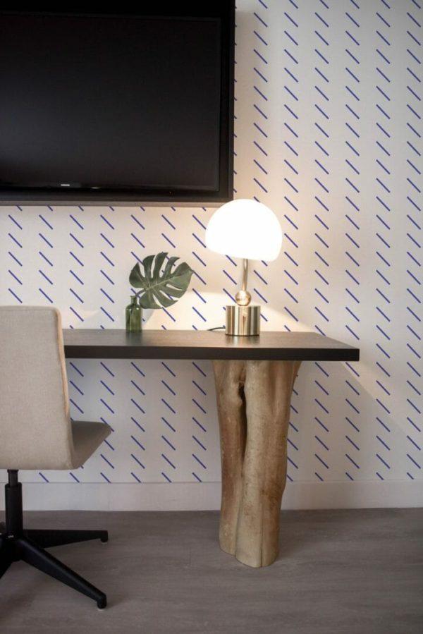 Blue short stripes peel and stick wallpaper