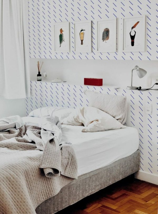 Blue short stripes removable wallpaper