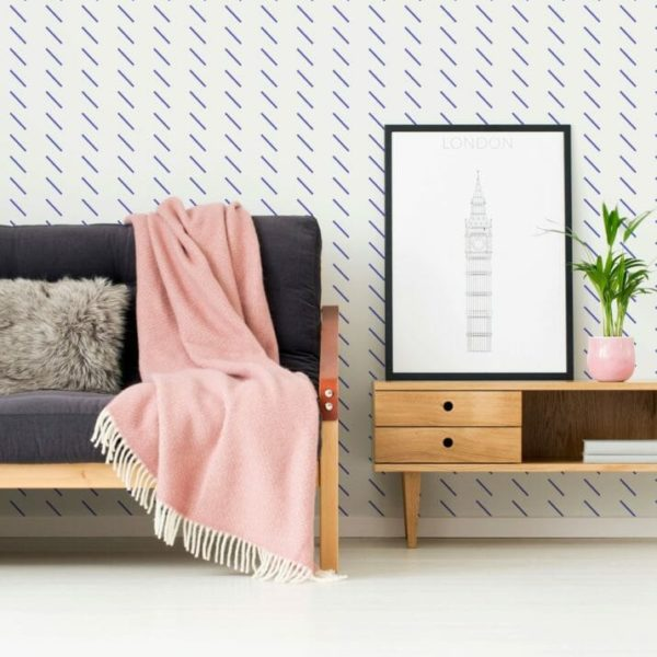 Blue short stripes self-adhesive wallpaper