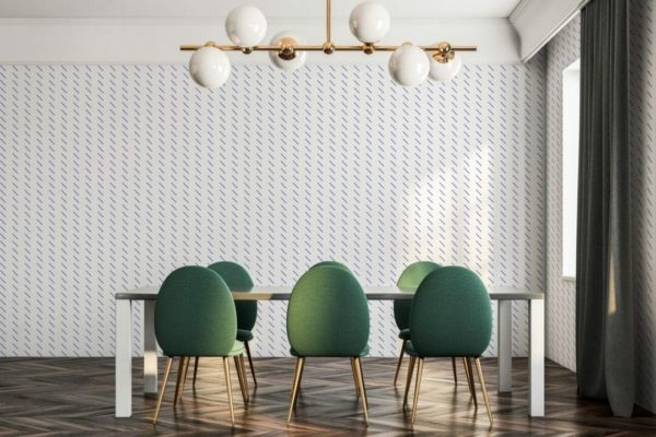 Blue short stripes unpasted traditional wallpaper