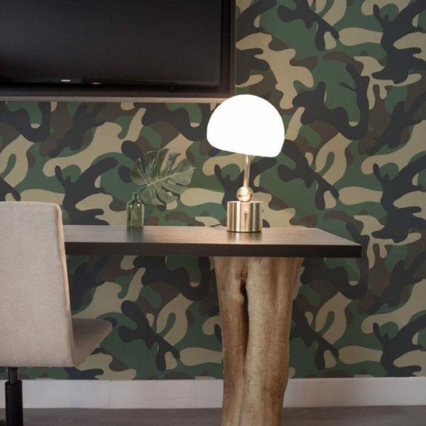 Camouflage pattern self-adhesive wallpaper