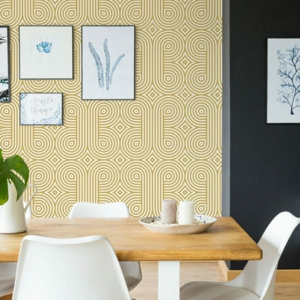 Gold and white retro unpasted traditional wallpaper