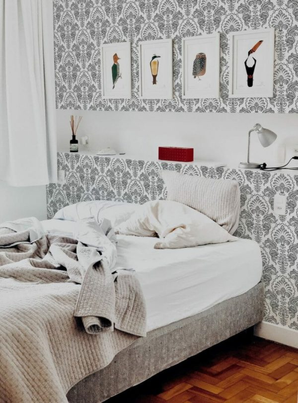Grey and white abstract unpasted traditional wallpaper