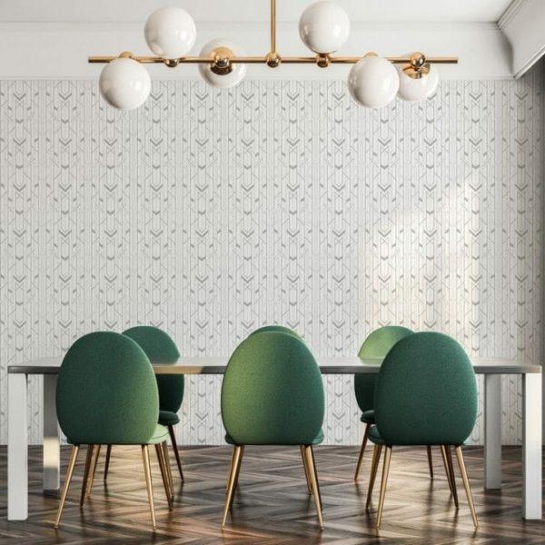 Grey and white Art Deco self-adhesive wallpaper