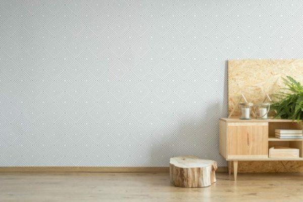Grey and white geometric diamond removable wallpaper