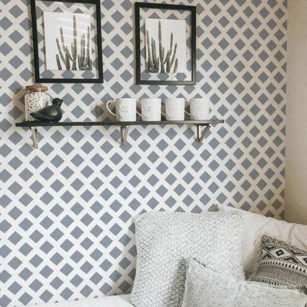 Grey and white geometric rhombus design pattern