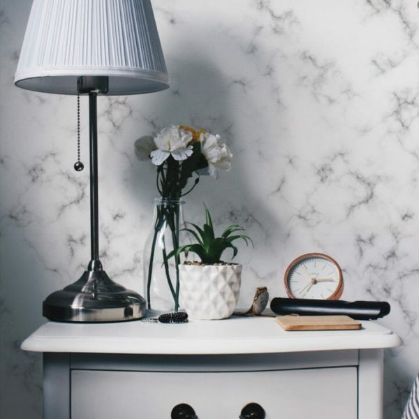 Grey and white marble self-adhesive wallpaper