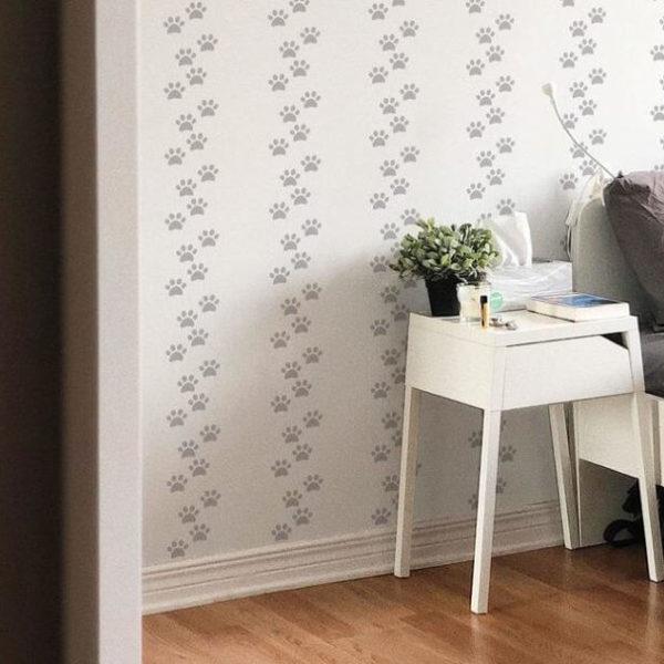Grey dog paw self-adhesive wallpaper