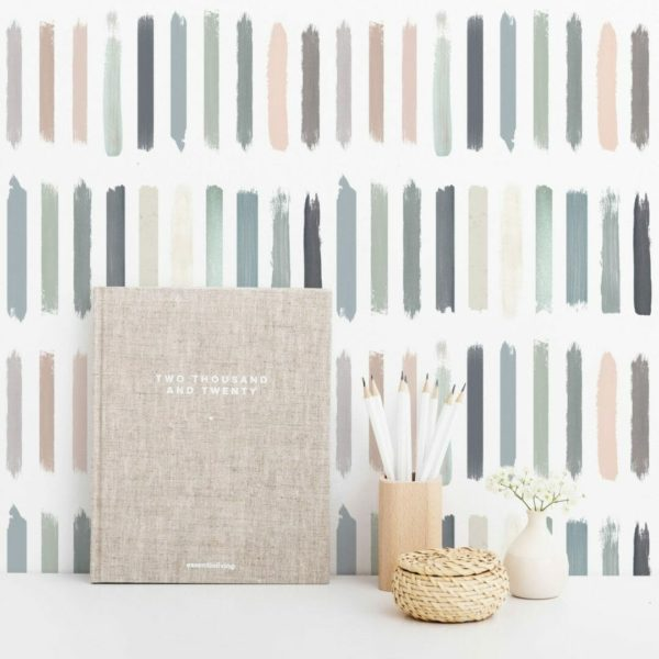 Pastel color brush strokes self-adhesive wallpaper