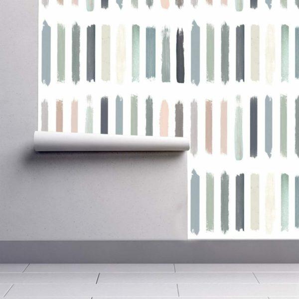 Pastel color brush strokes wallpaper rolls