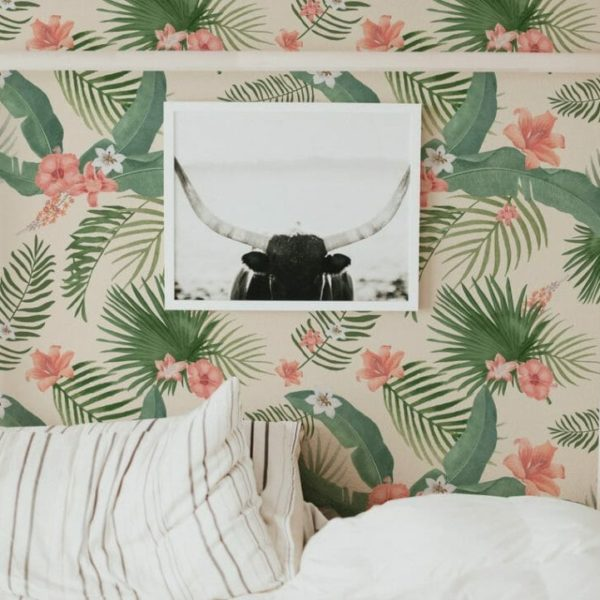 Pink and green tropical self-adhesive wallpaper