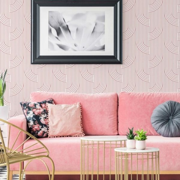 Pink bent lines removable wallpaper