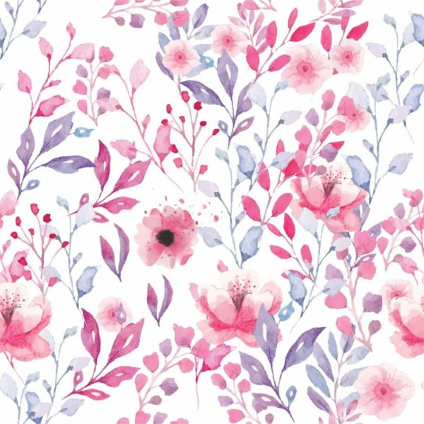 Pink floral wallpaper sample