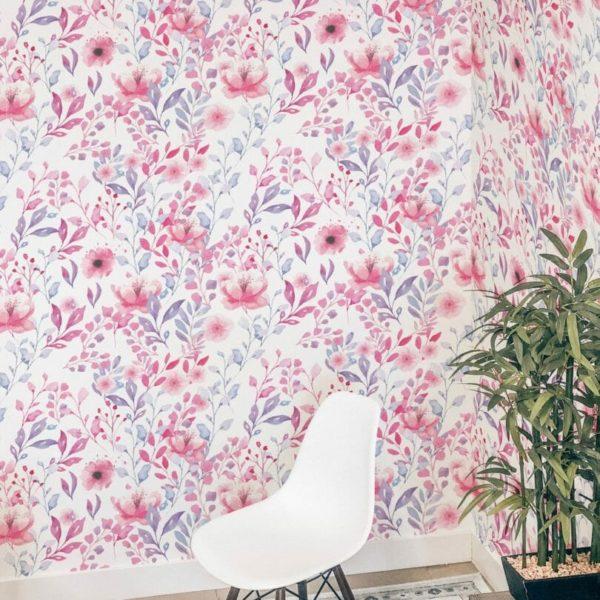 Pink flowers self-adhesive wallpaper
