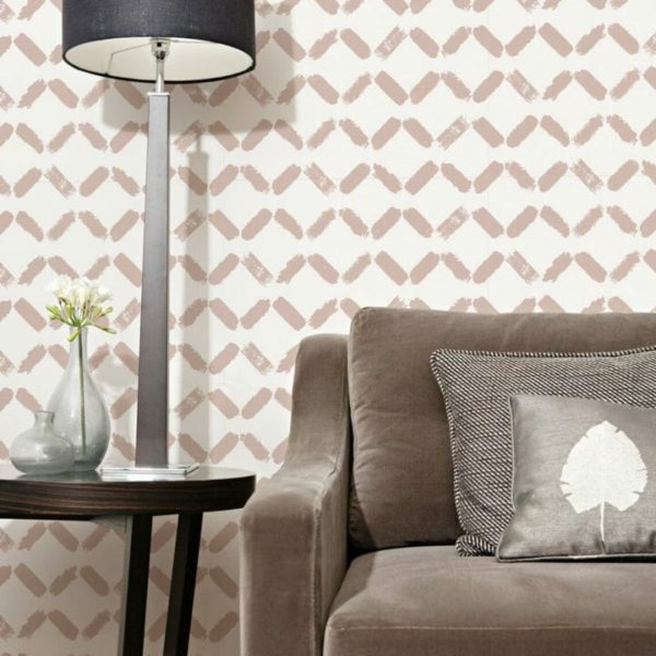 Pink pastel chevron peel and stick wallpaper