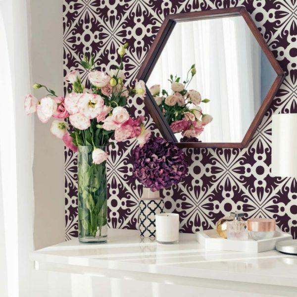 Purple arabesque self-adhesive wallpaper