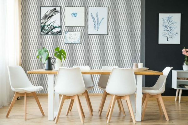 Removable black and white hexagon wallpaper