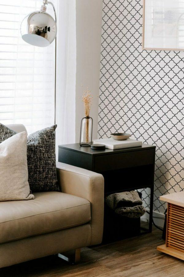 Removable black lattice wallpaper