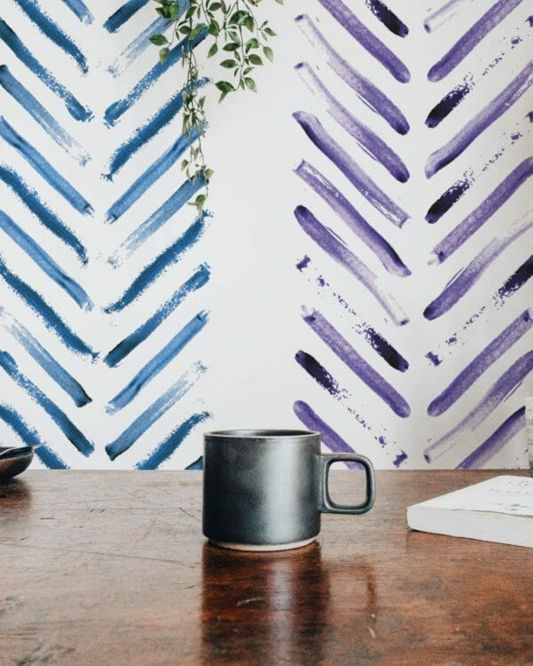 Removable blue and purple wallpaper