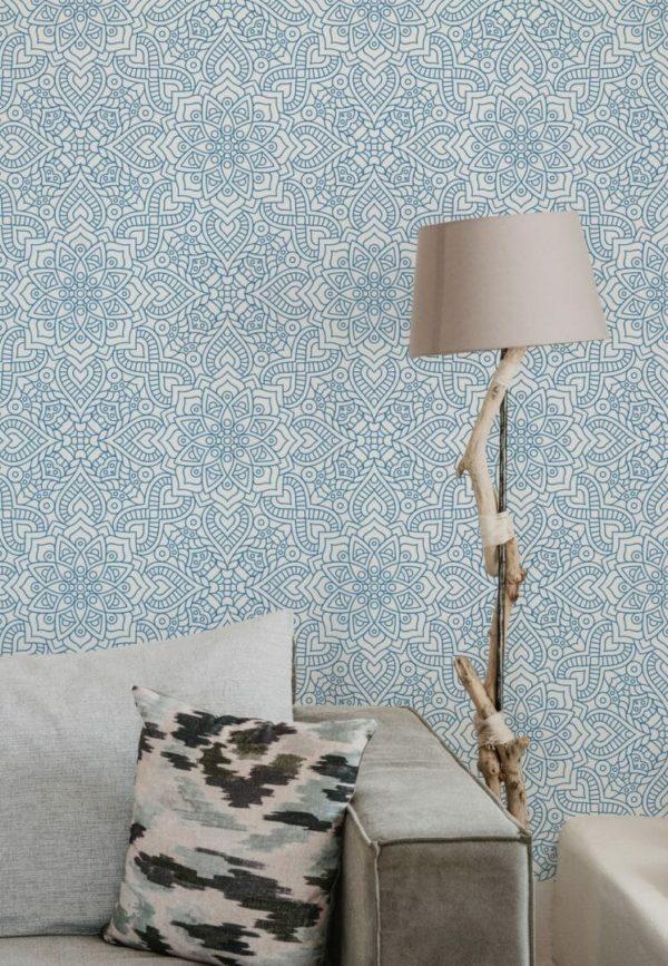 Removable blue wallpaper