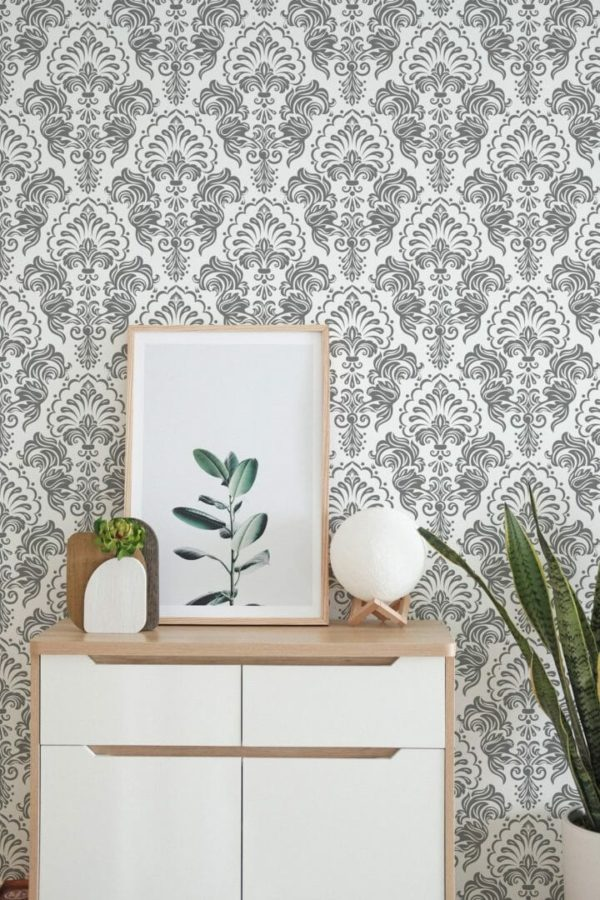 Removable grey and white wallpaper