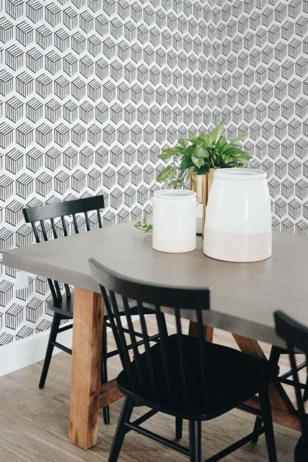 Self-adhesive 3D geometric shapes wallpaper