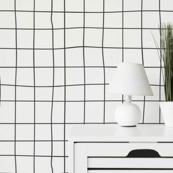 Self-adhesive cross line wallpaper
