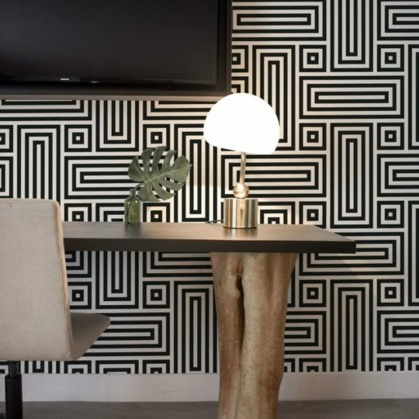 Black and white geometric figure peel and stick wallpaper