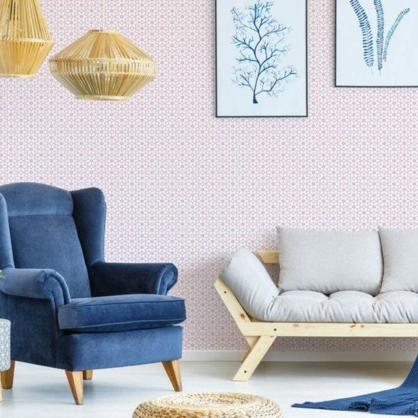 Self-adhesive geometric floral wallpaper