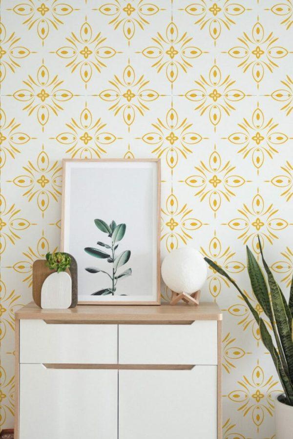 Self-adhesive geometric shapes wallpaper