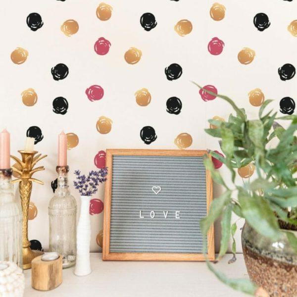 Watercolor Polka dots self-adhesive wallpaper
