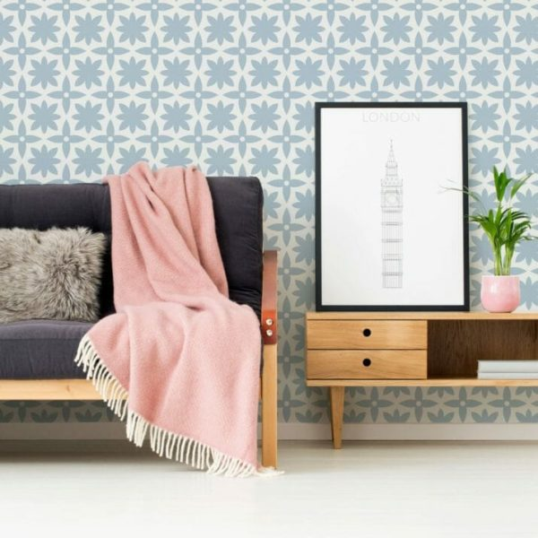 White and blue Moroccan design pattern