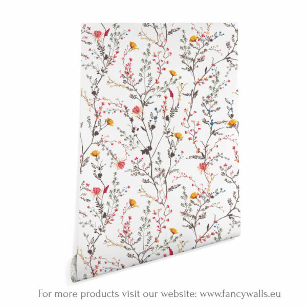white and colorfulfloralpeel and stick wallpaper