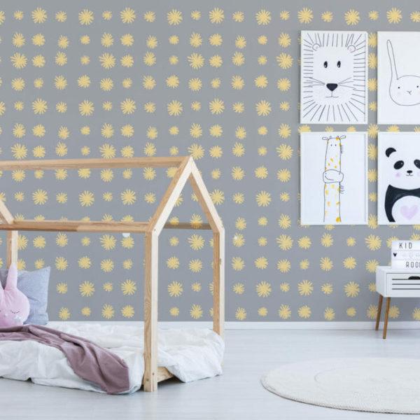 yellow and gray star pattern self-adhesive wallpaper