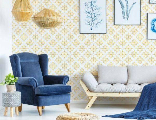 Yellow geometric shapes peel and stick wallpaper