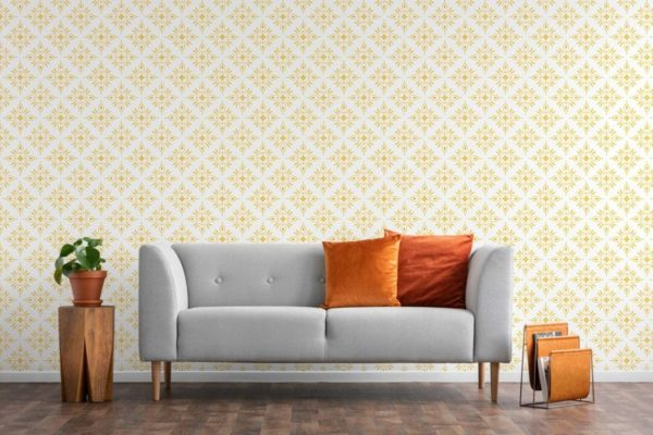 Yellow geometric shapes removable wallpaper