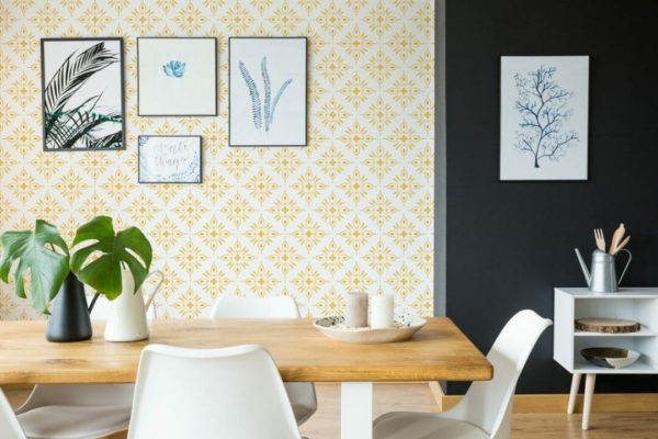 Yellow geometric shapes self-adhesive wallpaper