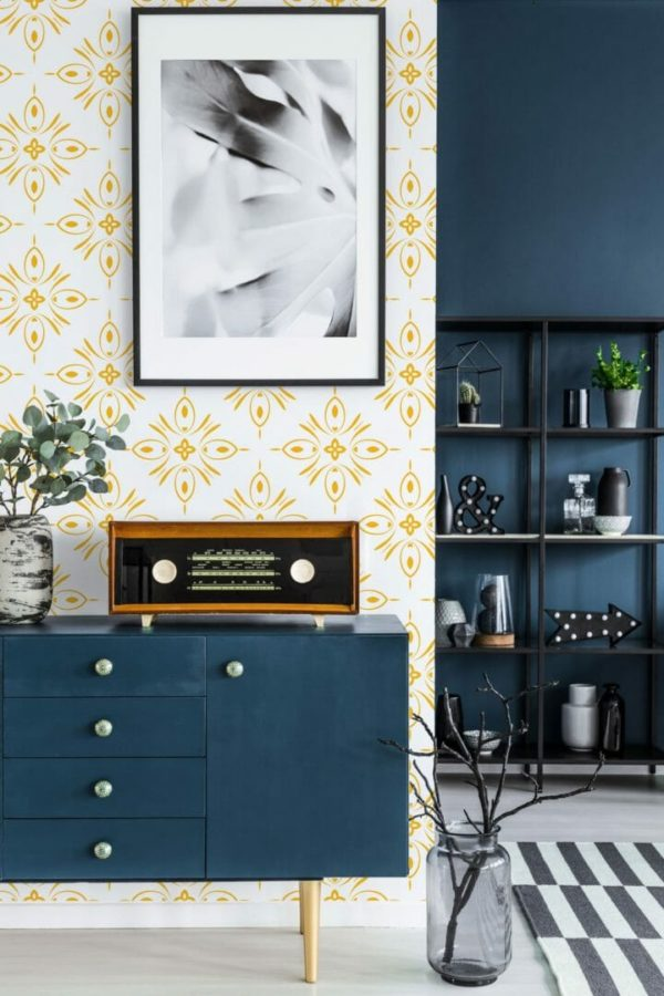 Yellow geometric shapes unpasted traditional traditional wallpaper
