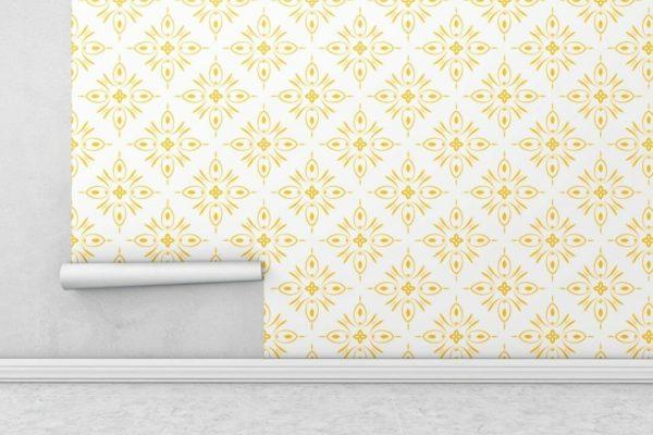 Yellow geometric shapes wallpaper rolls